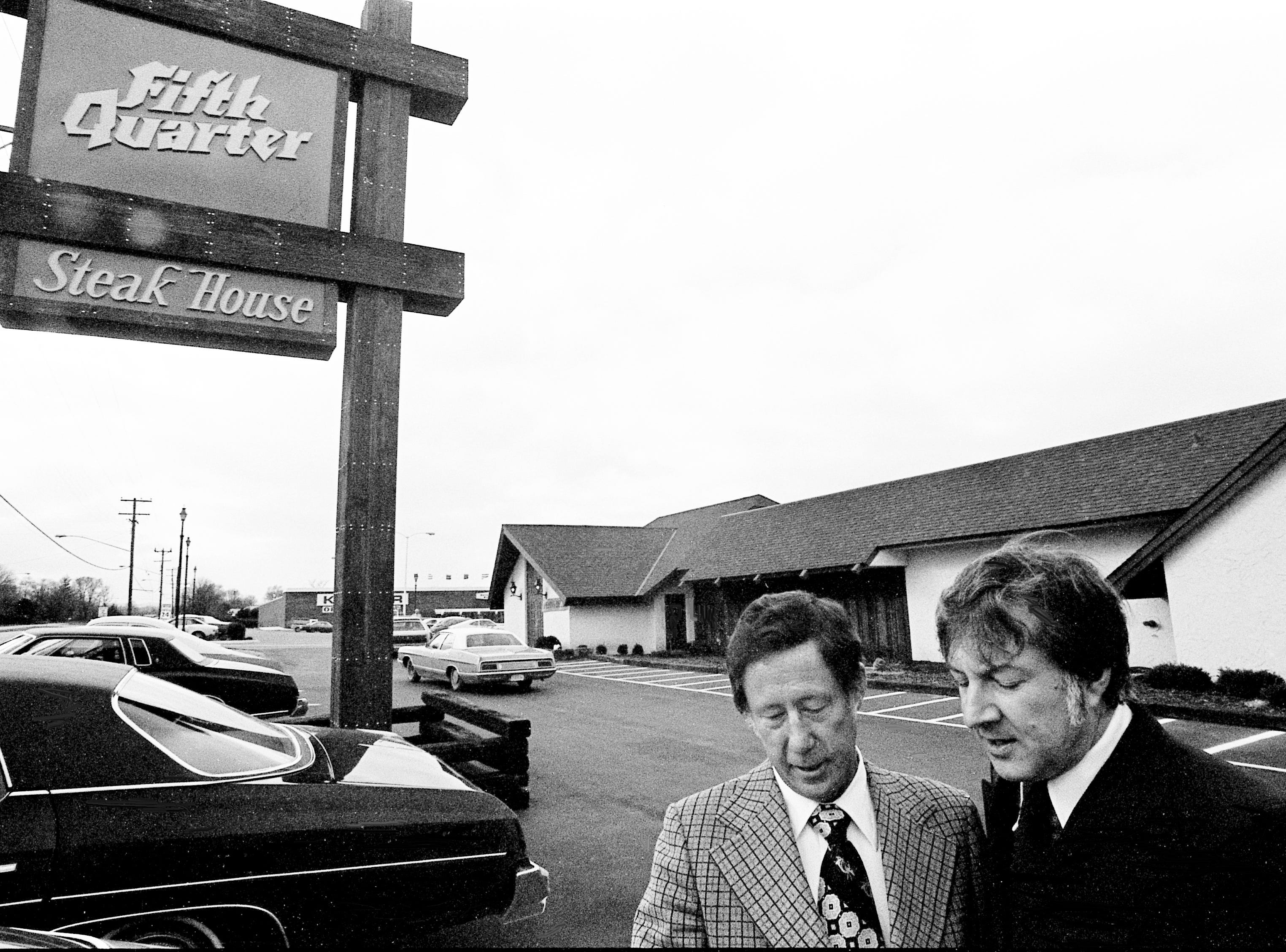Sonny Durante, right, division director of Shoney's Big Boy Enterprises, talks Dec. 27, 1973 with Shoney's president Ray Danner in front of the new Fifth Quarter Steak House and Cocktail Lounge at the intersection of Thompson Lane and Murfreesboro Road.