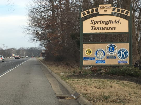 A sign welcomes visitors to Springfield, Tenn.