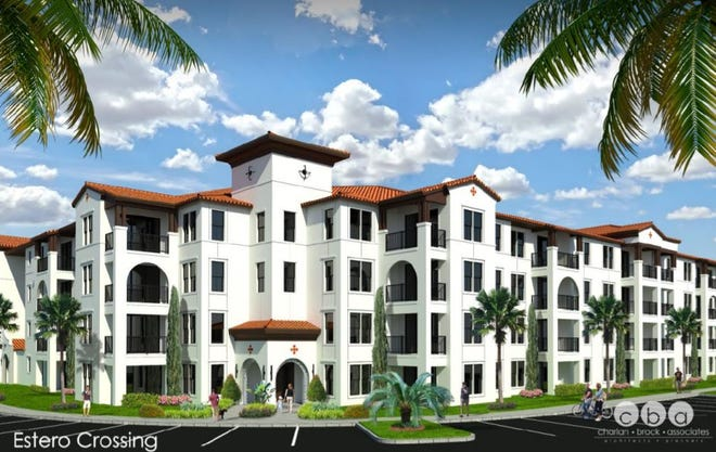 A rendering of the apartment buildings at Estero Crossing, a Stock Development project located on Corkscrew Road in Estero.