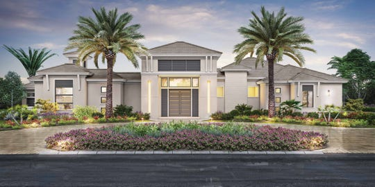 The IL Cortile model is a courtyard-style residence with a detached guest cabana.