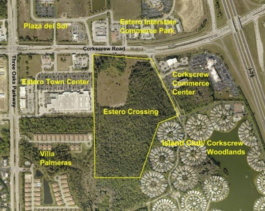 Estero Crossing, a Stock Development project, is outlined in yellow.