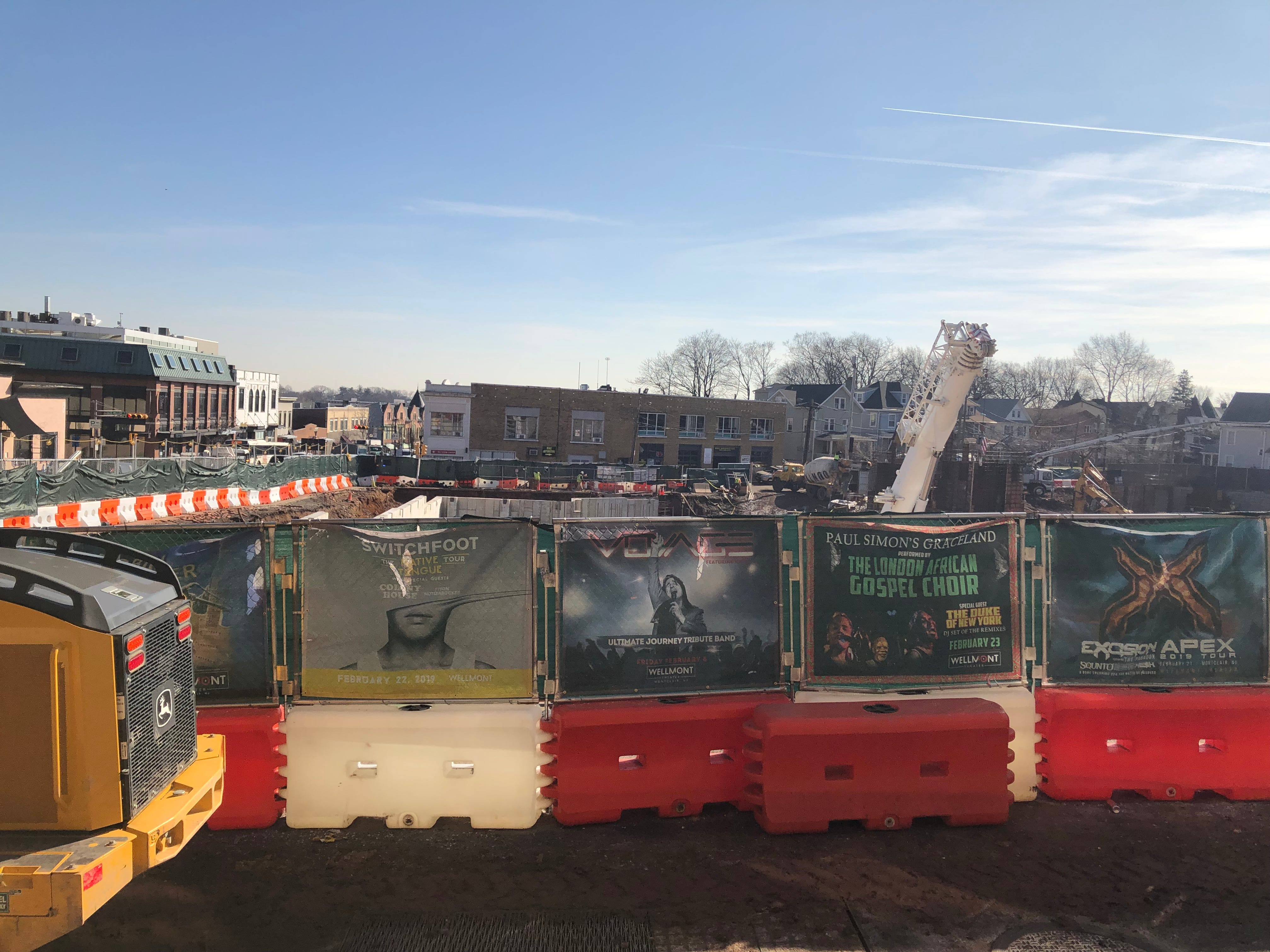 The 2.2-acre Seymour Street project looking south on Bloomfield Avenue. When complete it will contain two new buildings with 200 apartments and 75,825 square feet of commercial space. February 2019.
