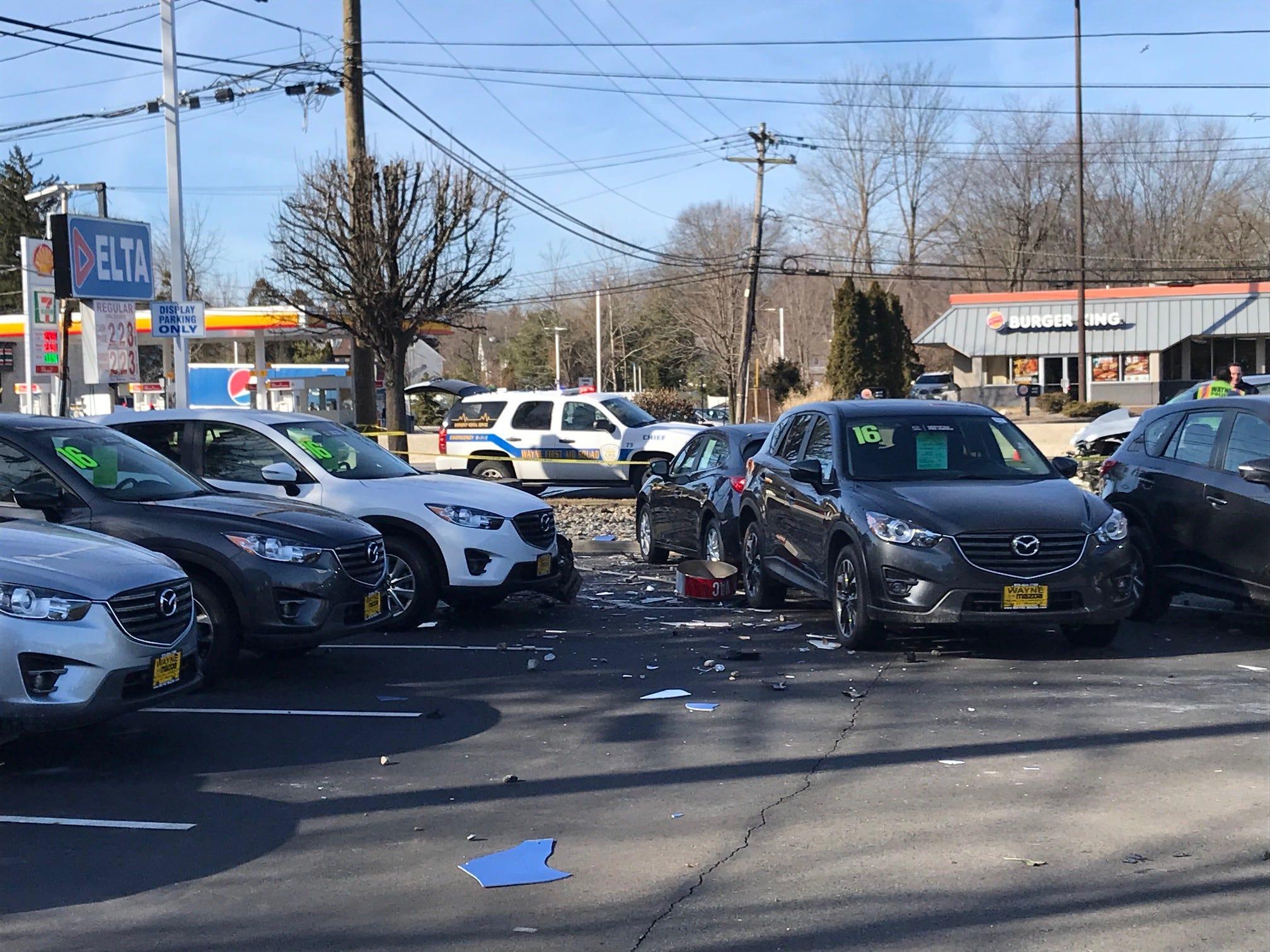 Several cars at Wayne Mazda were damaged by flying debris.