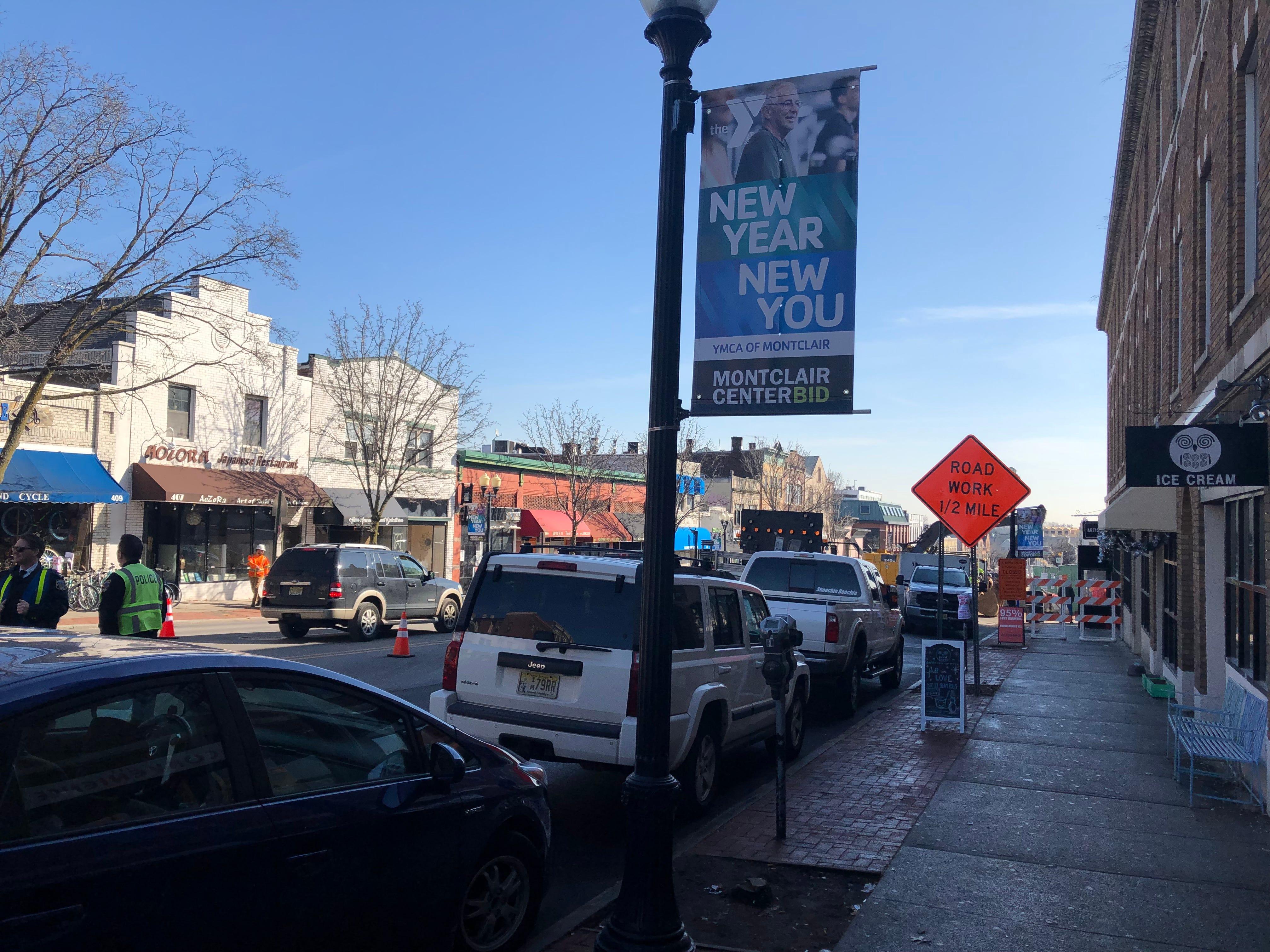 Bloomfield Avenue in Montclair near the Seymour Street redevelopment project. January 2019.