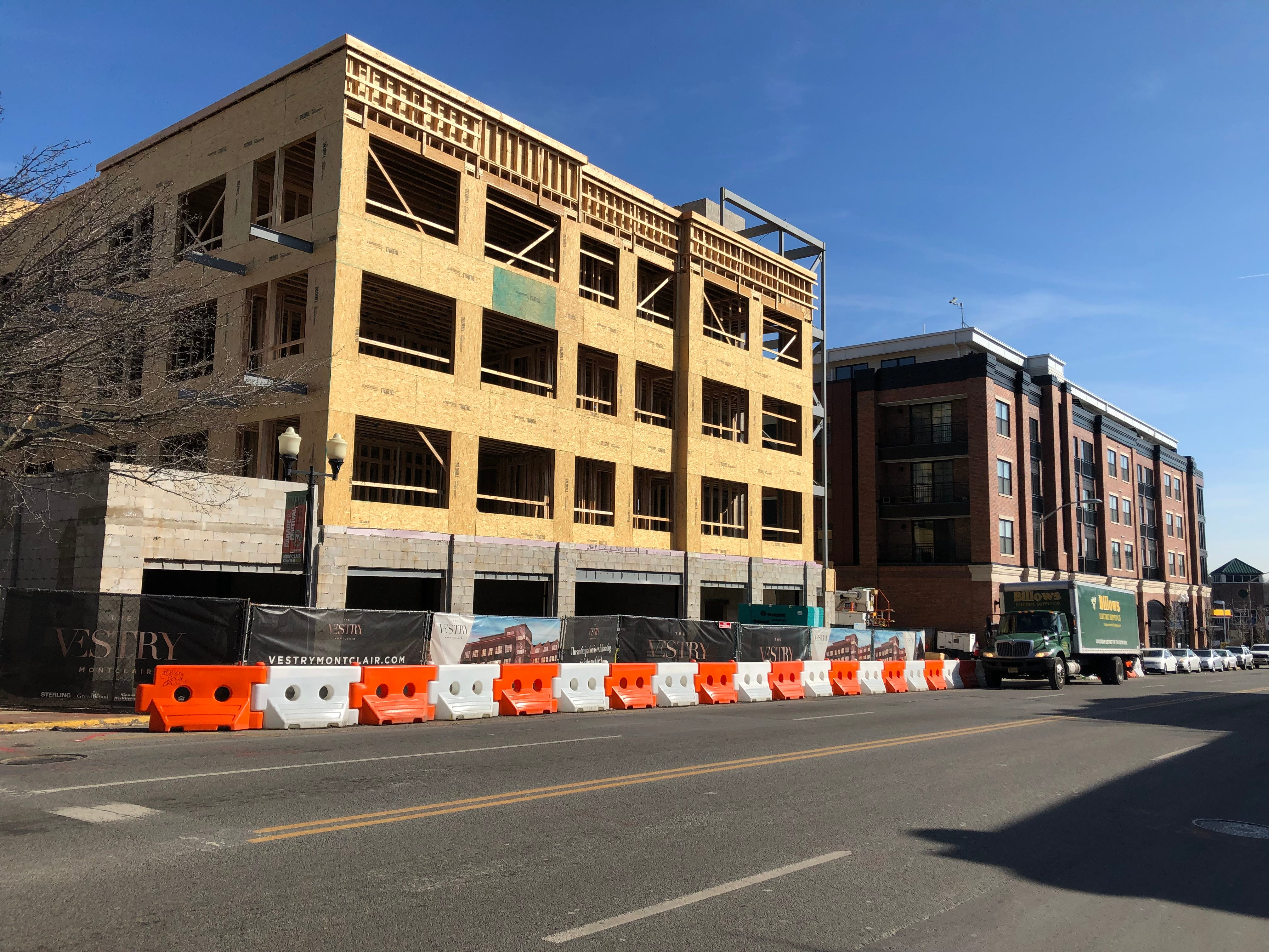 Just south of Lackawanna Station on Bloomfield Avenue is The Vestry. It will have 46 apartments and 1,684 square feet of retail space when completed.