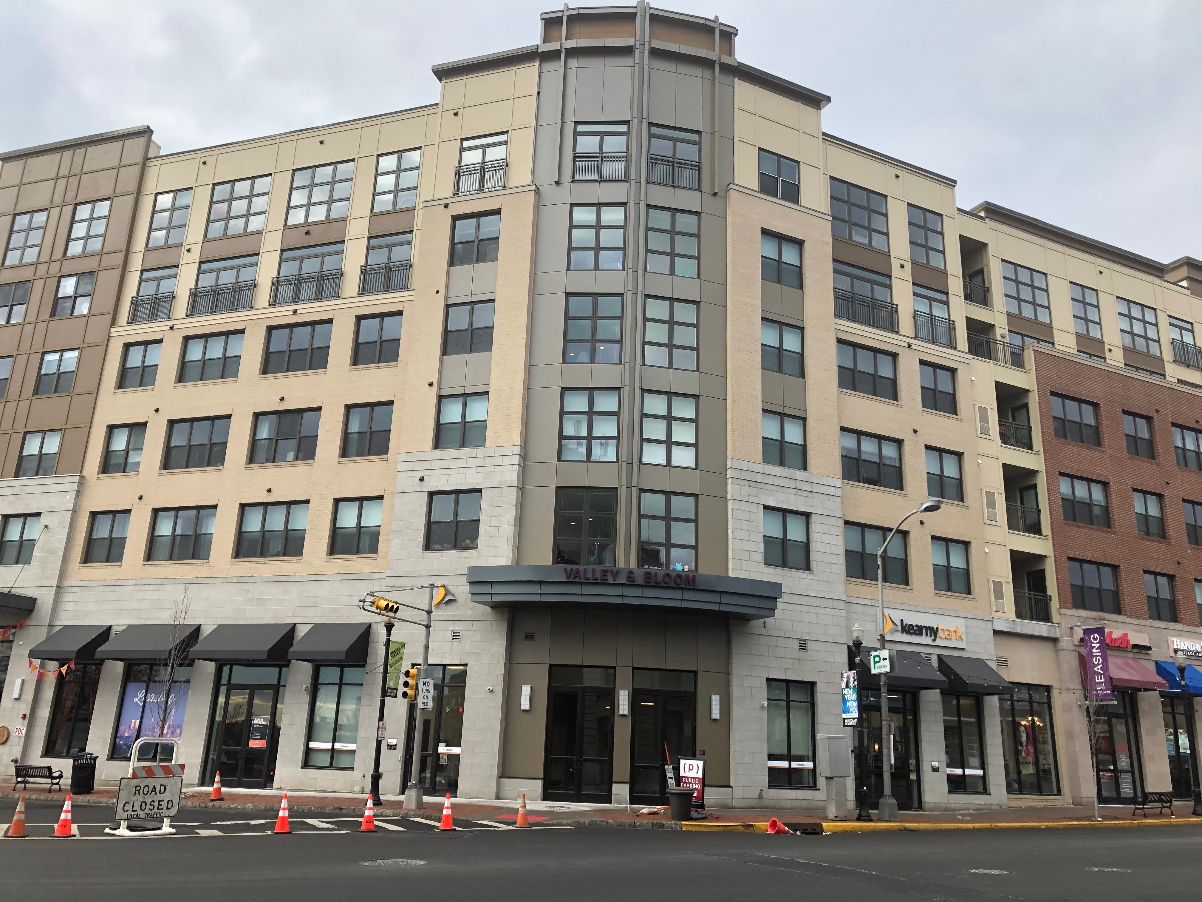 """Valley & Bloom, with 329 apartments, shares 63,528 square feet of retail space with the adjacent MC Hotel. The complex  is located at the """"Gateway"""" to Montclair: the corner of Bloomfield Avenue and Valley Road. Both properties were built by Brian Stolar and his company, Pinnacle Properties."""