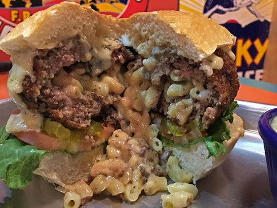 Callahan's stuffed truffle mac and cheese burger