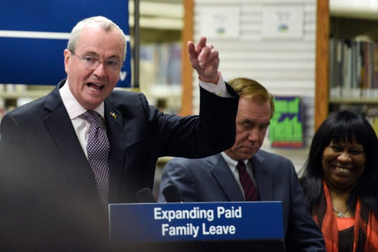 Gov. Phil Murphy before signing a bill to expand New Jersey's paid family leave at the JFK Library in Piscataway on Tuesday, February 19, 2019.