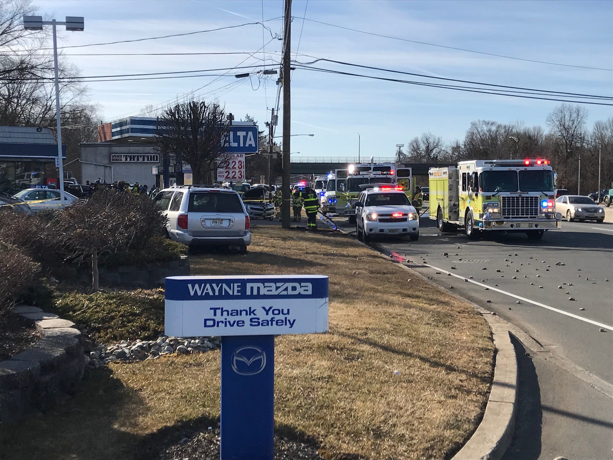 At least three cars were involved in a serious accident at the Delta Gas Station on Route 23 in Wayne.