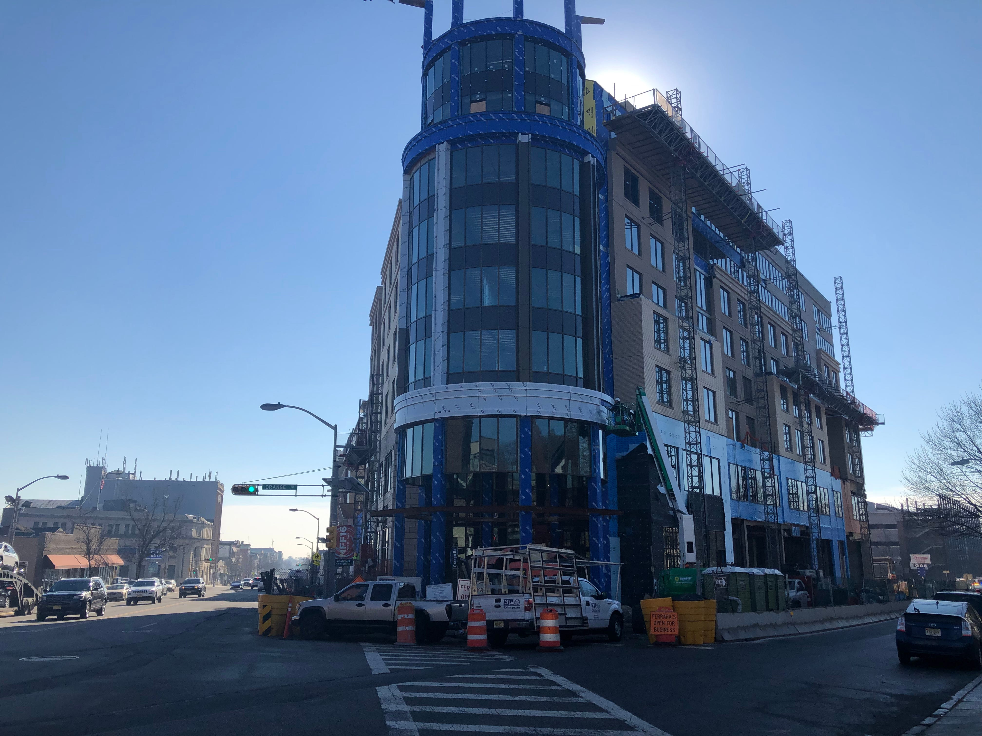 """The MC Hotel will have 159 rooms when complete, and share 63,528 square feet of retail space with the adjacent Valley & Bloom apartment building. The complex  is located at the """"Gateway"""" to Montclair: the corner of Bloomfield Avenue and Valley Road. Both properties were built by Brian Stolar and his company, Pinnacle Properties."""
