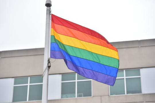 The rainbow flag being flown at Bergen County Plaza in Hackensack.
