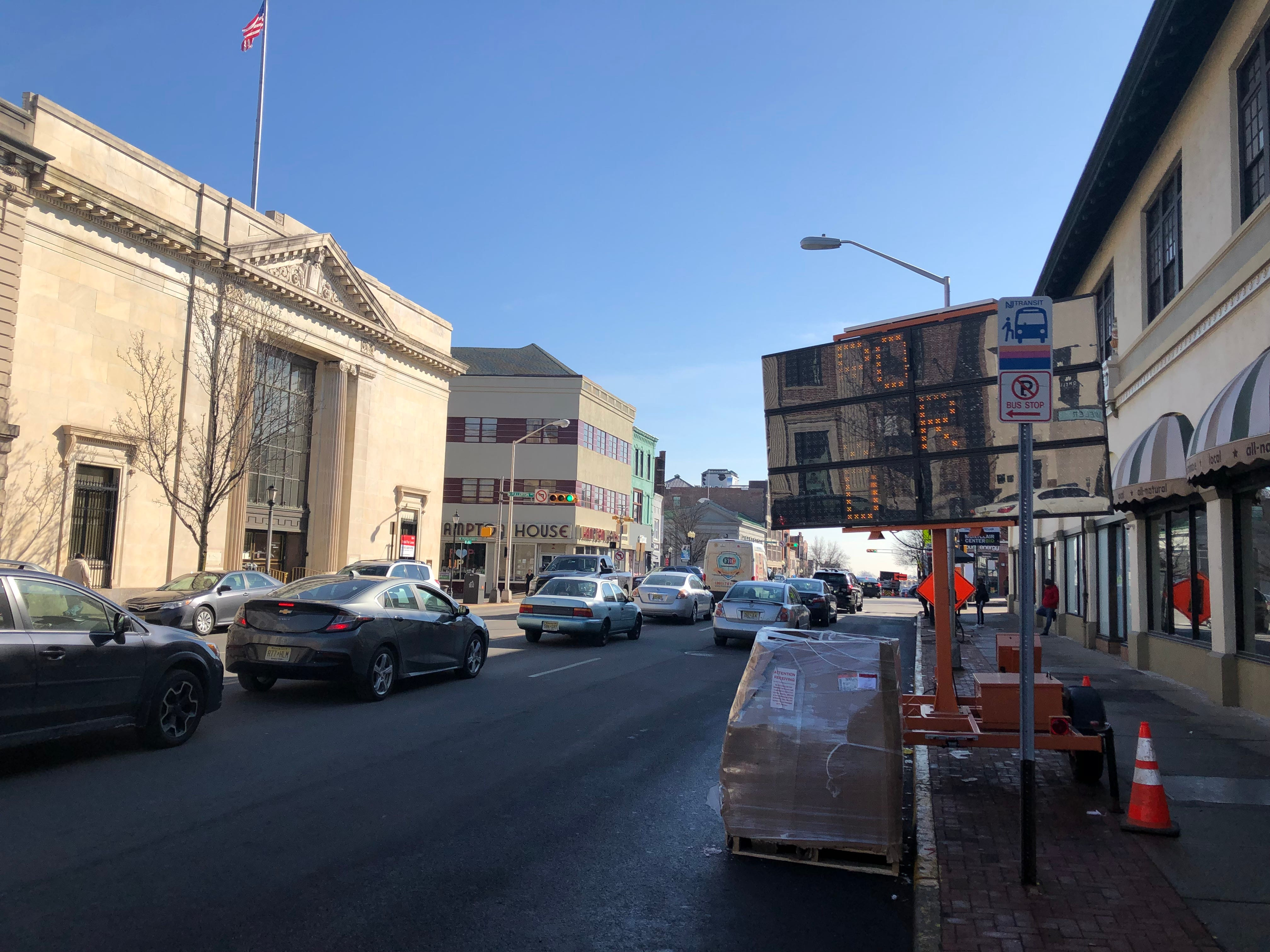 The 1923 Bank of Montclair building, left,  currently empty, is being redesigned for retail tenants. The 1924 Hinck building, on right, houses the Claridge Theatre, one of three silent movie theaters built in Montclair during the 1920s . February 2019.
