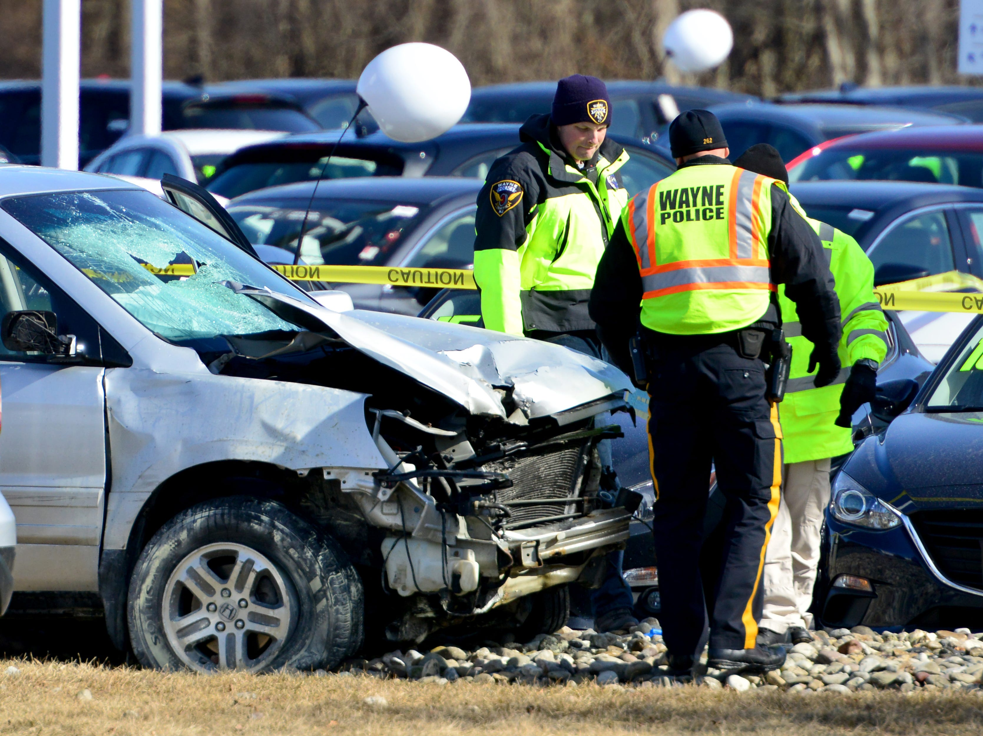 Emergency personnel surround the scene of a serious accident at a gas station on Route 23 northbound in Wayne on Tuesday February 19, 2019.