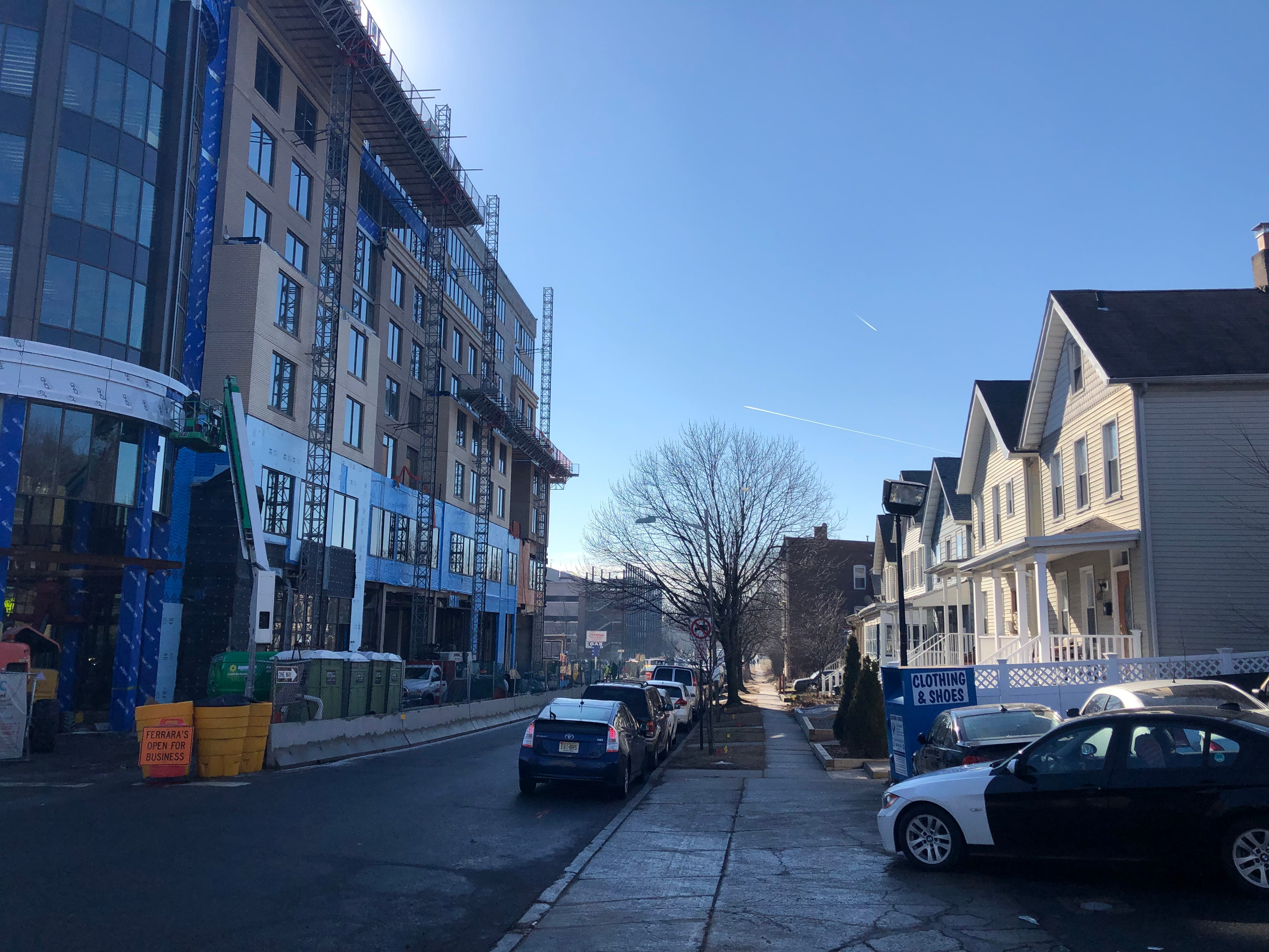Two-story homes on Orange Road face the 159-room MC Hotel, opening this year in Montclair. February 2019.