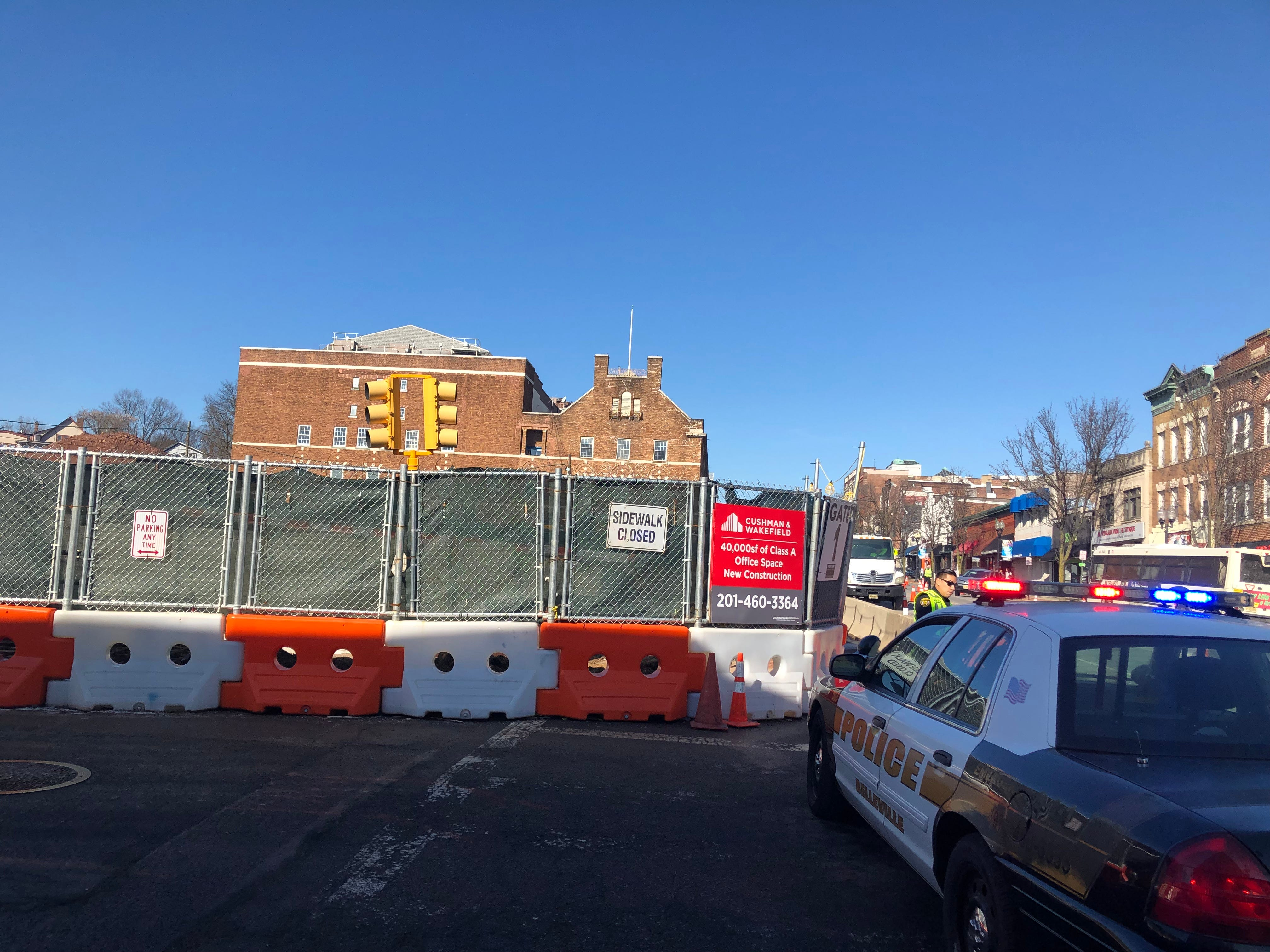 The 2.2-acre Seymour Street project, looking north on Bloomfield Avenue.  When complete it will contain two new buildings with 200 apartments and 75,825 square feet of commercial space. February 2019.
