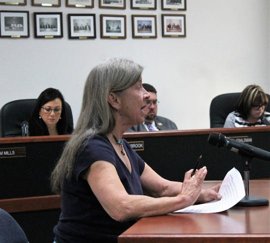 Alamogordo resident Denise Lang addresses the Otero County Commission at the commission's regular meeting Feb. 14.