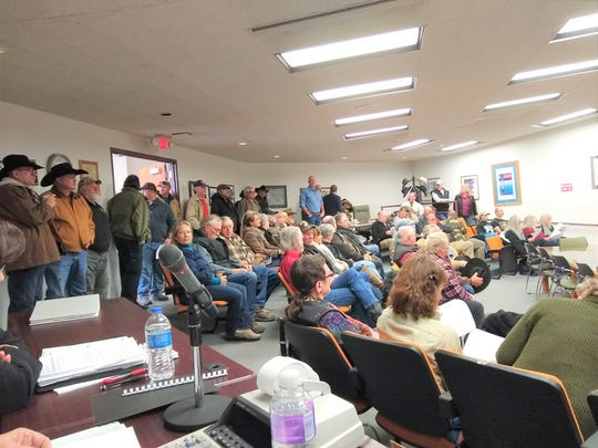 The Lincoln County Commission chamber was packed and the crowd spilled into the lobby,