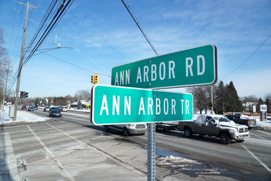 Vehicles head west along Ann Arbor Road at Ann Arbor Trail in Livonia on Feb. 19.