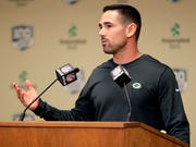 Green Bay Packers head coach Matt LaFleur speaks to media on Feb. 18, 2019, at Lambeau Field in Green Bay, Wis.