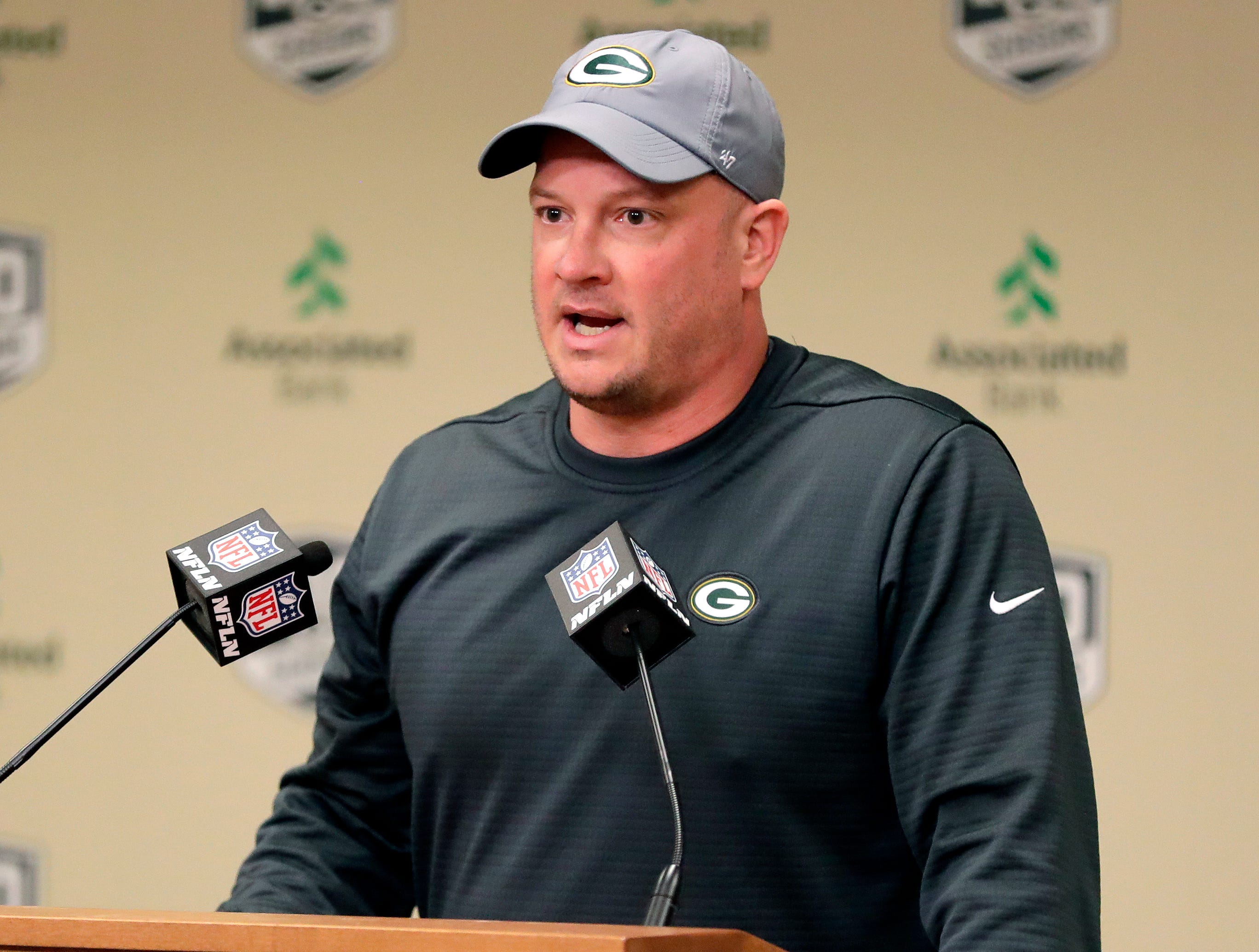 Nathaniel Hackett, the Green Bay Packers' new offensive coordinator, speaks to media on Feb. 18, 2019 at Lambeau Field in Green Bay, Wis.