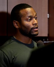 Alvis Whitted, Green Bay Packers wide receivers coach, speaks to media on Feb. 18, 2019, at Lambeau Field in Green Bay, Wis.