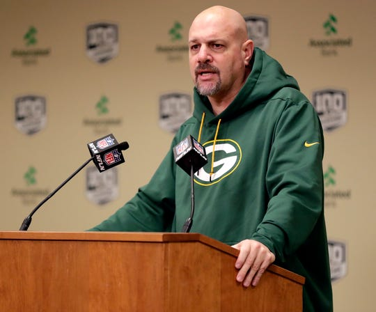 Green Bay Packers defensive coordinator Mike Pettine speaks to media on Feb. 18, 2019, at Lambeau Field in Green Bay, Wis.