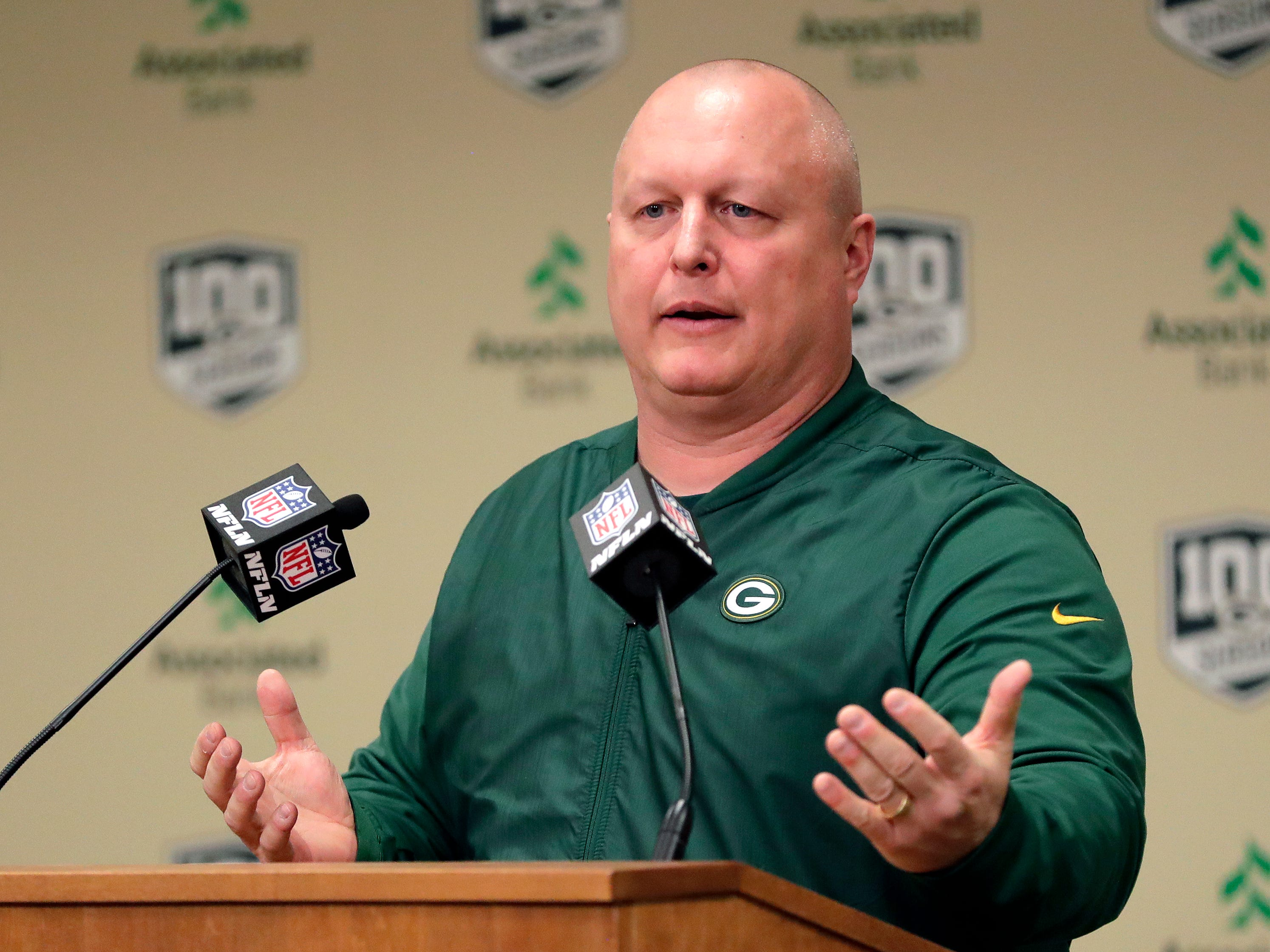 Shawn Mennenga, the Green Bay Packers' new special teams coordinator, speaks to media on Feb. 18, 2019 at Lambeau Field in Green Bay, Wis.