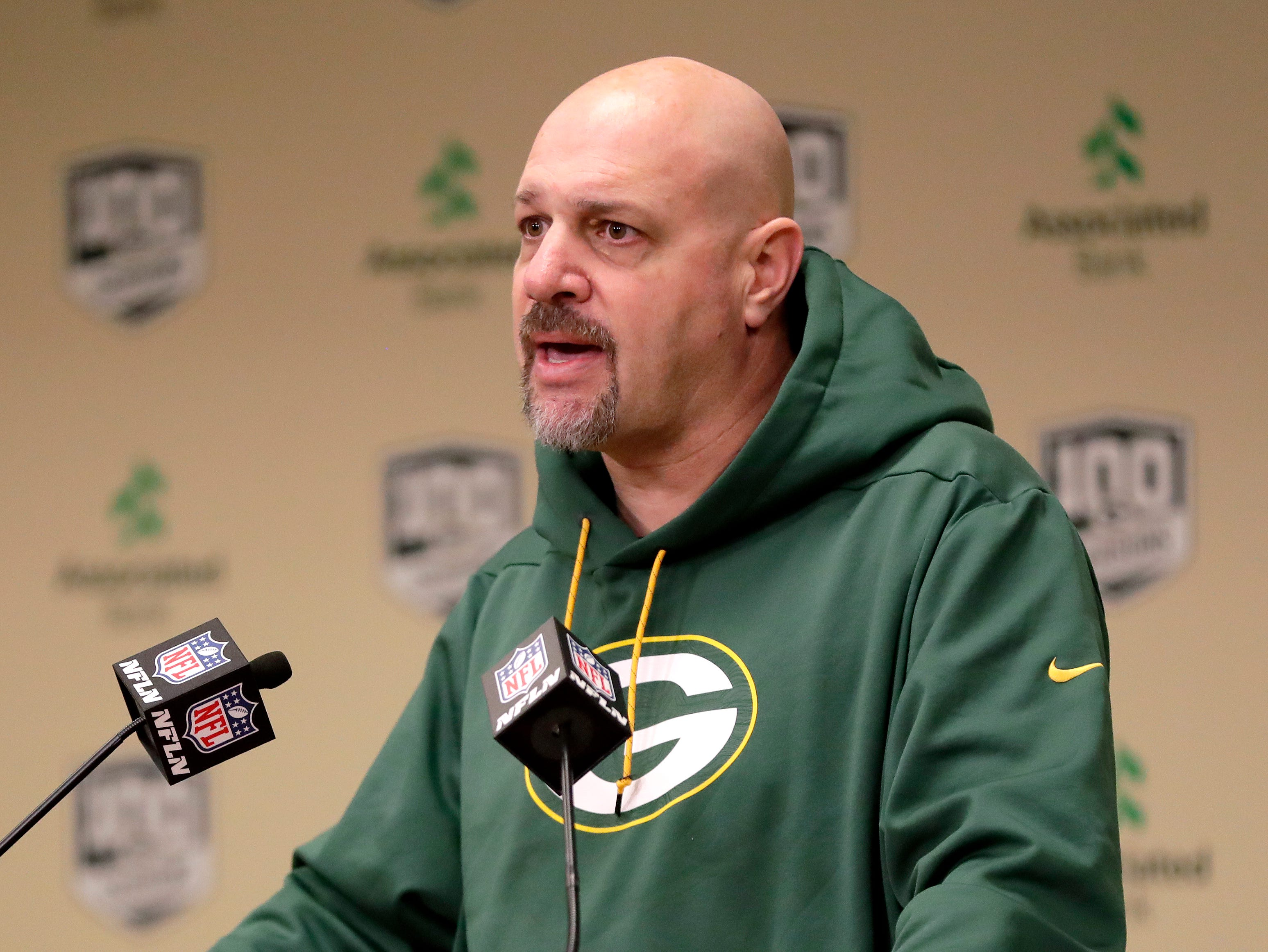 Green Bay Packers defensive coordinator Mike Pettine speaks to media on Feb. 18, 2019, at Lambeau Field in Green Bay, Wis.
