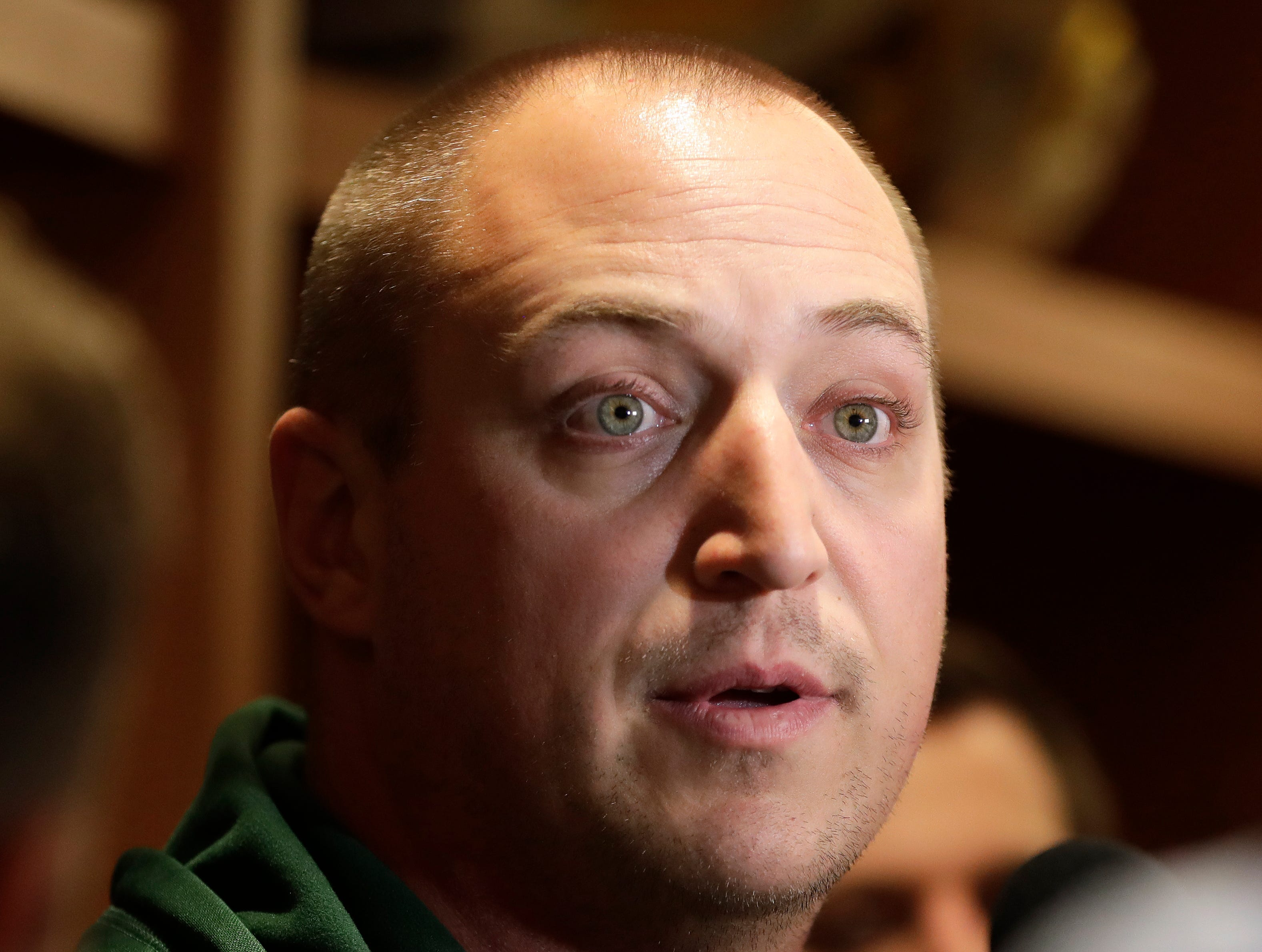 Adam Stenavich, offensive line coach for the Green Bay Packers, speaks to media on Feb. 18, 2019 at Lambeau Field in Green Bay, Wis.