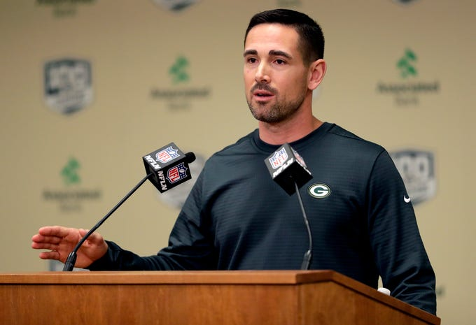 Green Bay Packers head coach Matt LaFleur speaks to media on Feb. 18, 2019 at Lambeau Field in Green Bay, Wis.