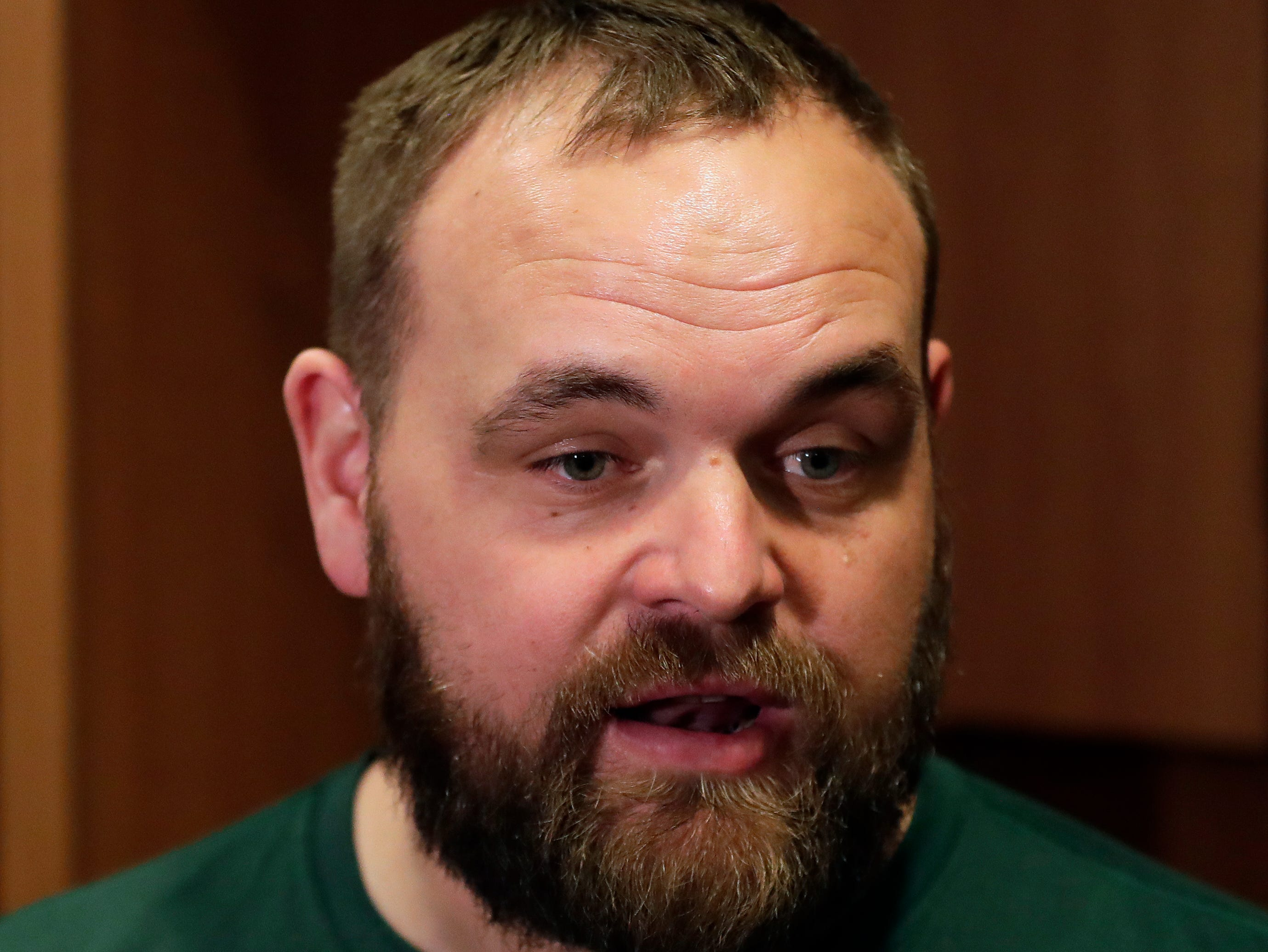 Luke Butkus, Green Bay Packers assistant offensive line coach, speaks with media on Feb. 18, 2019, at Lambeau Field in Green Bay, Wis.