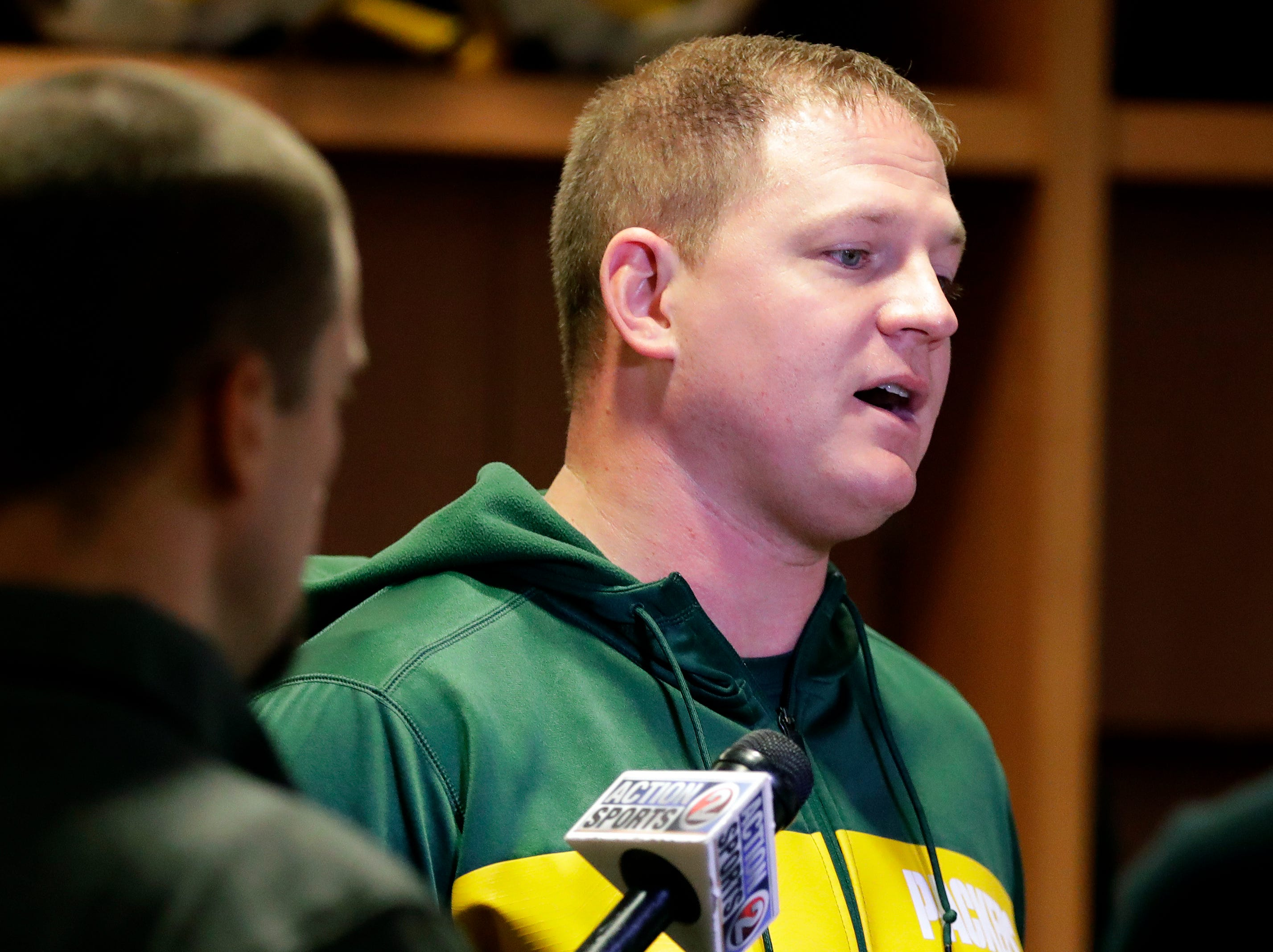 Luke Getsy, quarterbacks coach for the Green Bay Packers, speaks to media on Feb. 18, 2019, at Lambeau Field in Green Bay, Wis.