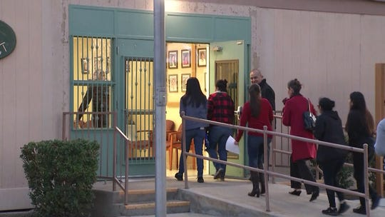 Students file into the CVUSD district office on Jan. 24 to voice their anger about a grade change.