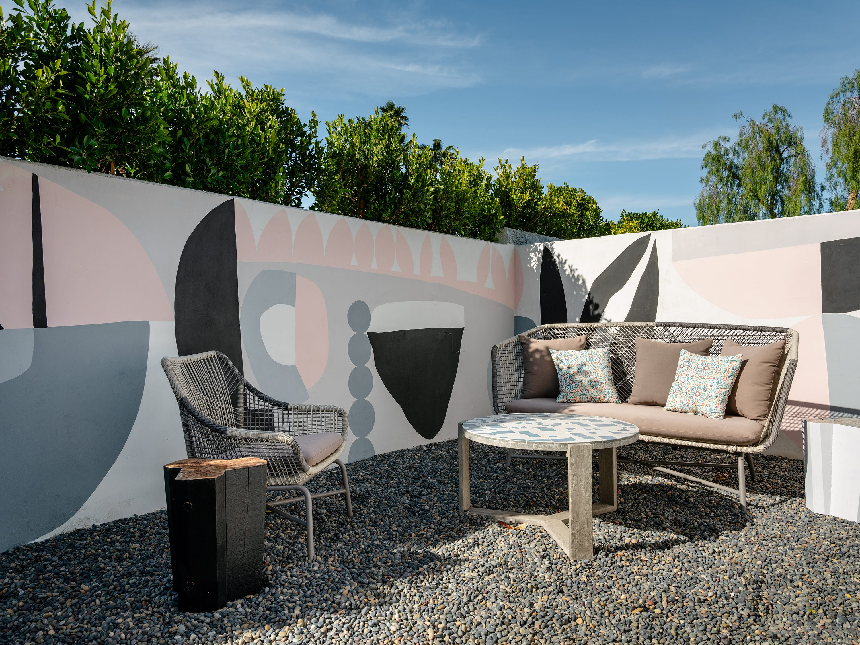 Murals by Shawn Savage and Robert Landry, Jr. adorn the West Elm House, featured during Modernism Week 2018, in Palm Springs.