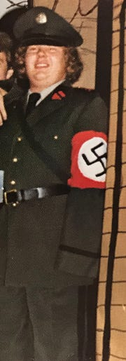 A cropped photo from a 1980 Gettsysburg College yearbook of Bob Garthwait, a former Gettysburg College trustee, dressed up as a WWII German soldier at a fraternity party.