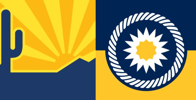 """The two finalists for Scottsdale's new city flag. """"Mountains and Sky"""" (left) and """"Saguaro Blossom"""" (right)."""