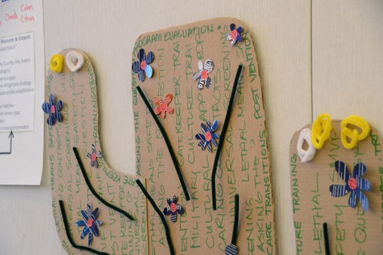 A cutout cactus covered with words of inspiration and flowers to represent the state's Native American tribes was created by a team of Arizona officials at a Washington workshop on veterans suicide.