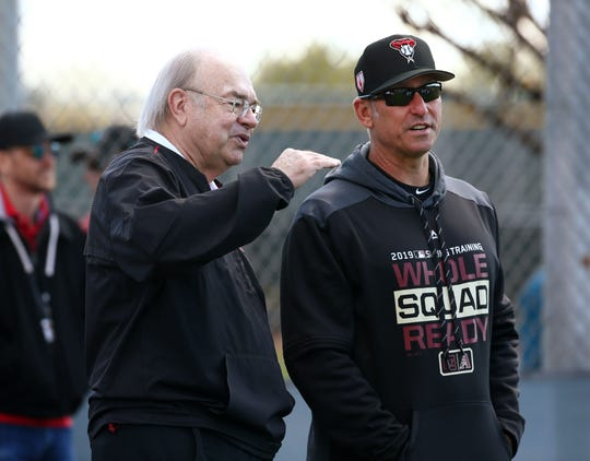 Arizona Diamondbacks managing general partner Ken Kendrick and manager Torey Lovullo during spring training workouts on Feb. 19 at Salt River Fields in Scottsdale, Ariz.