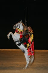 Tim Baker, Director of Stunts, Choreography and Equestrian Programs for Medieval Times on a horse. The entertainment chain will open a Scottsdale venue in 2019.