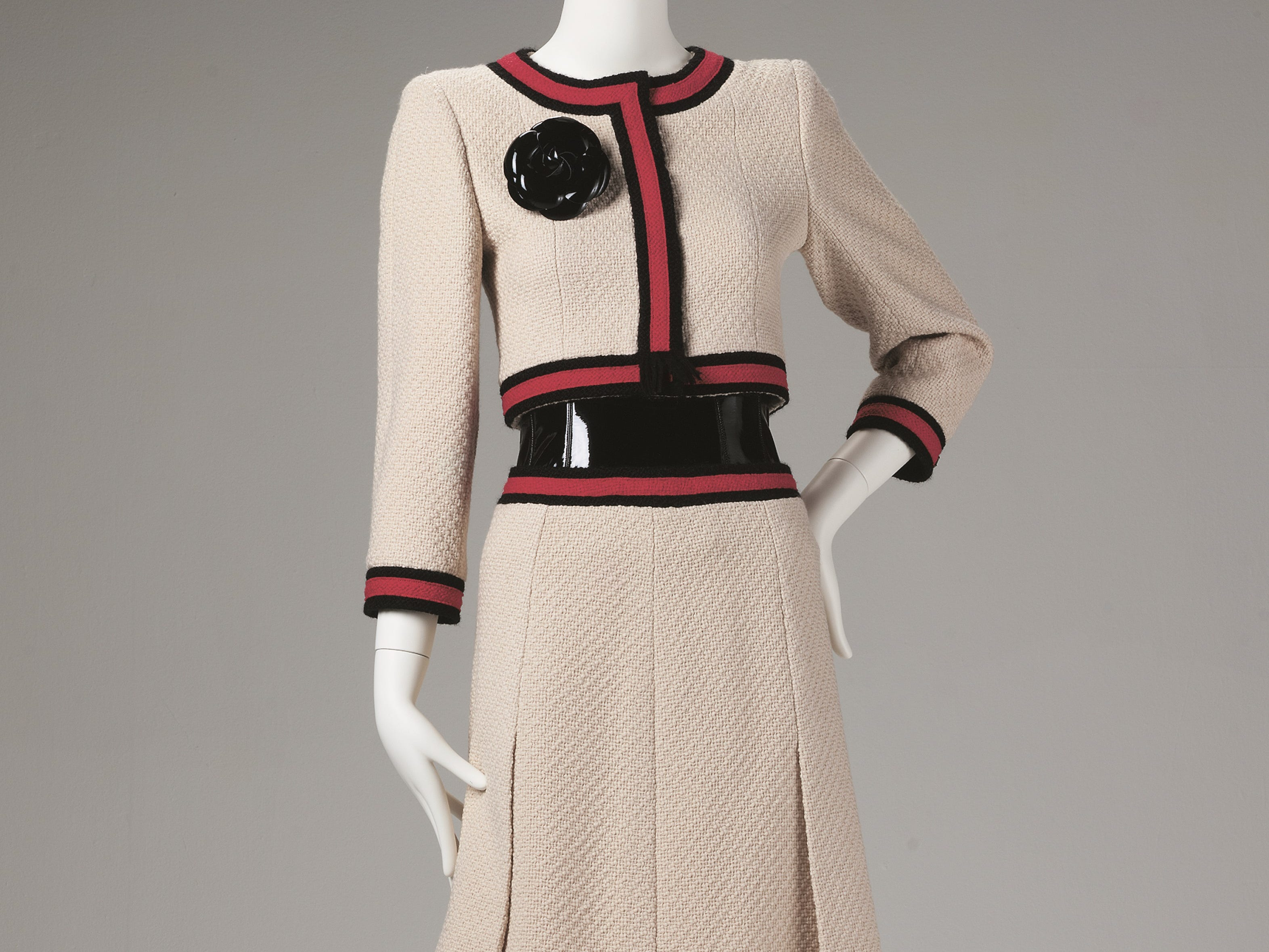 Karl Lagerfeld; Jacket, skirt, boots, corset and flower corsage; 2001; wool, silk, patent leather; 17 x 14 1/2 in. (43.2 x 36.8 cm); Collection of Phoenix Art Museum, gift of Mrs. Kelly Ellman