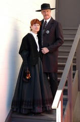 Terry Earp with her husband Wyatt in their stage clothes.