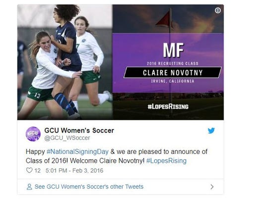 GCU announces that Claire Novotny has joined the women's soccer team in 2016.