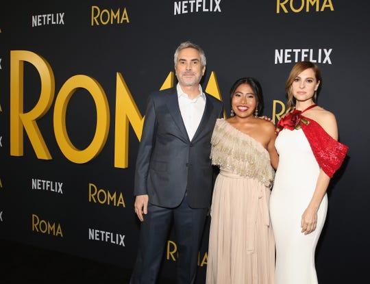 "Alfonso Cuaron, Yalitza Aparicio and Marina de Tavira at the Netflix ""Roma"" premiere."
