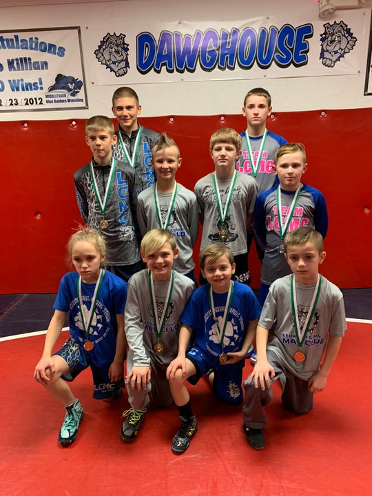 These 10 Lebanon County Mat Club wrestlers qualified for the Pennsylvania Junior Wrestling State Championships over the weekend. They are, front row, from left, Kylee Trostle (youth), Sam Wolford (youth), Carter Wolford (youth), Chase Yeagley (youth). Second row, Klint Miller (youth), Ashton Kriss (youth), Aaron Seidel (youth), Caeden Sechrist (youth) Third row, Kyle Miller (youth), Griffin Gonzalez (junior high)