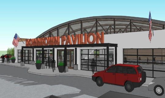 The latest renderings for a marketplace at the former Art Van building, 318 Grand River Ave., include just a single-story option for the project.
