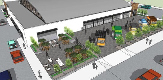 The latest renderings for a marketplace at the former Art Van building, 318 Grand River Ave., include a paved outdoor space for seating and a food truck area, or another use.