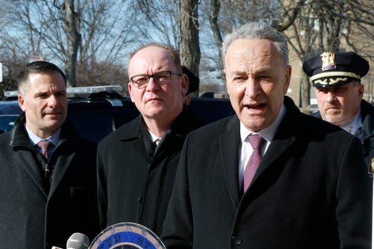 Senator Chuck Schumer, (D-NY), joined by Dutchess County Executive Marc Molinaro, City of Poughkeepsie Mayor Rob Rolison and City of Poughkeepsie Chief of Police Thomas Pape during a press conference about the POWER Act Grant Program in the City of Poughkeepsie on February 19, 2019.