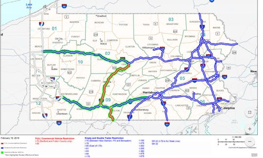 This map, provided by the state Department of Transportation, shows restrictions that will be in place Wednesday, though those restrictions could evolve.