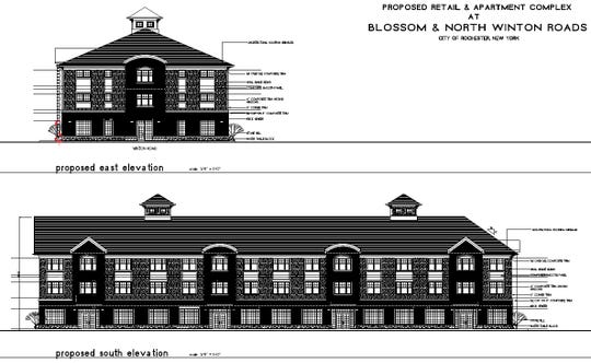 Proposed retail and apartment complex at Blossom and North Winton roads in Rochester.