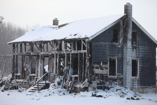 Aftermath of a fatal house fire in the town of Marion.